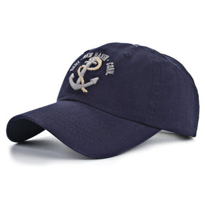 navy blue mens baseball hat with embroidered silver anchor by anchor in waves