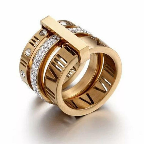 18K Gold Plated Triple Stacked Roman Numeral Band Ring - Pre Order - Prince's Boutique