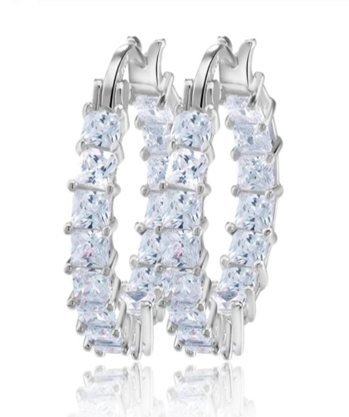 White Gold Plated Crystal Clear Mini Hoop Earrings - Prince's Boutique