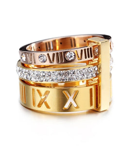 Tripple Stacked Roman Numeral Band Ring
