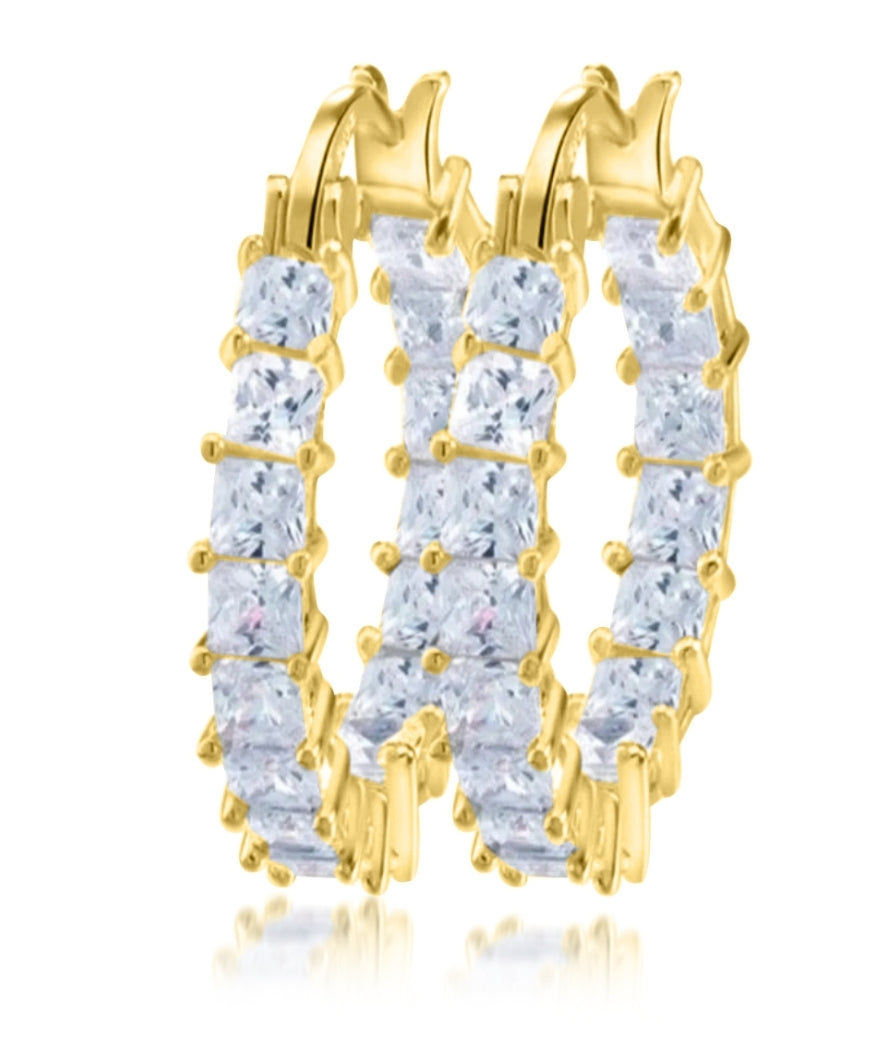 18K Gold Plated Crystal Clear Mini Hoop Earrings - Prince's Boutique