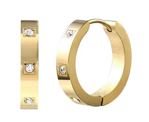 18K Gold Plated Cubic Zirconia Stone Mini Hoop Earrings - Prince's Boutique