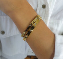 18K Gold Plated Roman Numeral Bangle & Cubic Zirconia Bangle Set - Prince's Boutique