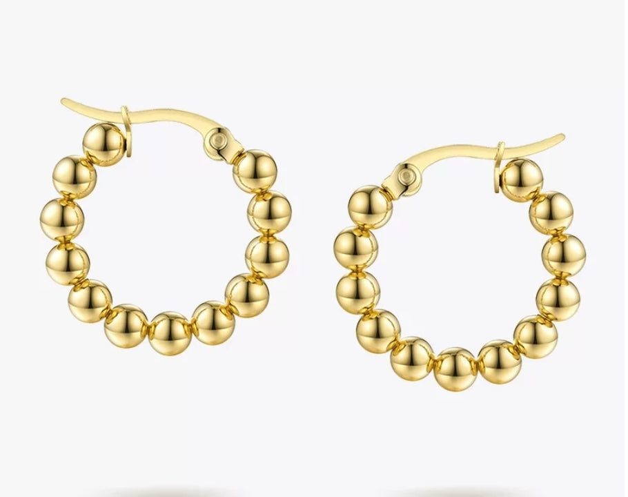 18K Gold Plated Mini Rounded Balls Hoop Earrings - Prince's Boutique