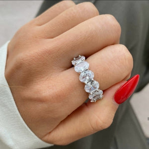 Luxury CZ Oval Band Ring - 925 Sterling Silver - Prince's Boutique