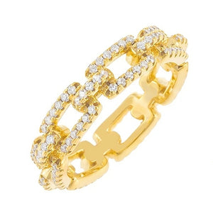 CZ Chain Link Eternity Ring - Prince's Boutique