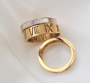 18K Gold Plated Luxe Roman Numeral Band Ring - Prince's Boutique