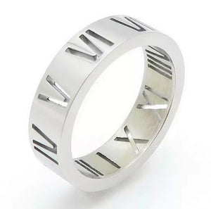 Silver Luxe Roman Numeral Band Ring - Prince's Boutique
