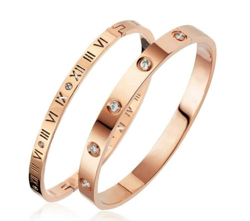 Rose Gold Silver Roman Numeral Bangle & Cubic Zirconia Bangle Set - Prince's Boutique