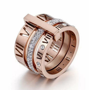 Rose Gold Triple Stacked Roman Numeral Band Ring - Pre Order - Prince's Boutique