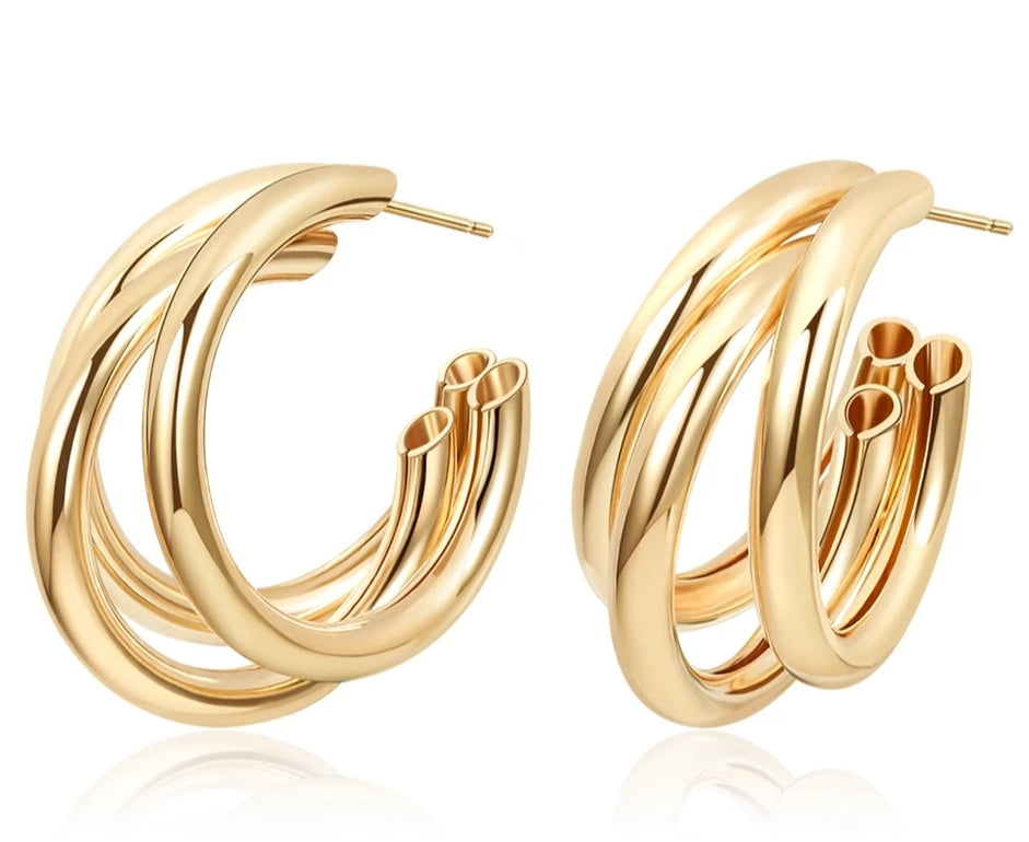 Gold Triple Curve Mini Hoop Earrings - Prince's Boutique