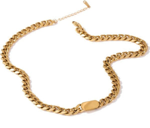 18K Gold Plated Thick Curb Chain Necklace