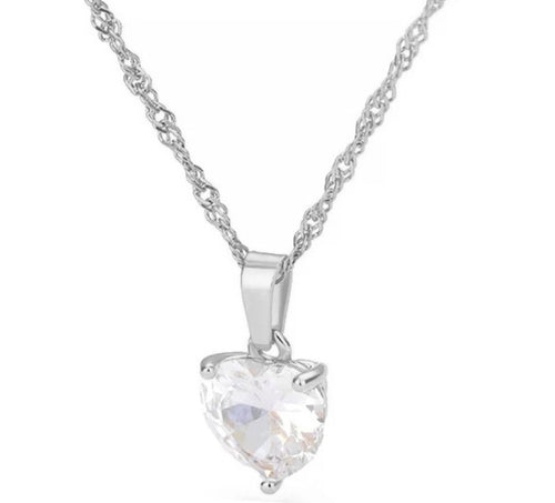 Silver Thin Rope Chain Crystal Heart Necklace - Prince's Boutique