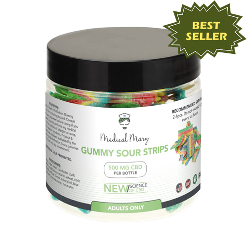 Medical Mary 500mg CBD Gummy Sour Strips | THC Free! - PrimaHemp