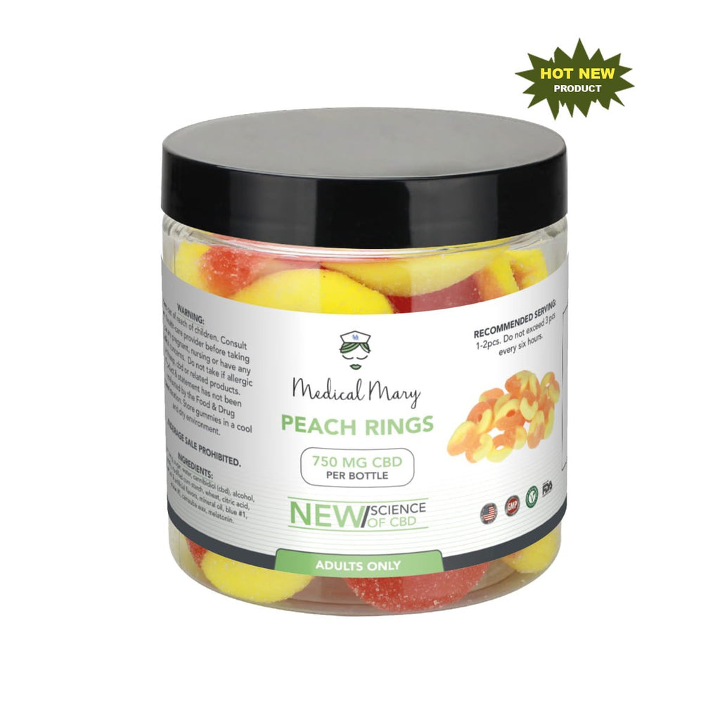 Medical Mary 750mg CBD Gummy Peach Rings | THC Free! - PrimaHemp