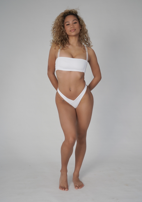 BEBE BANDEAU TOP IN WHITE
