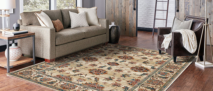 Transitional flower living room rug