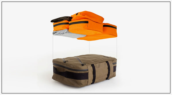 an exploded view of a carry on backpack to show the benefits of one bag travel