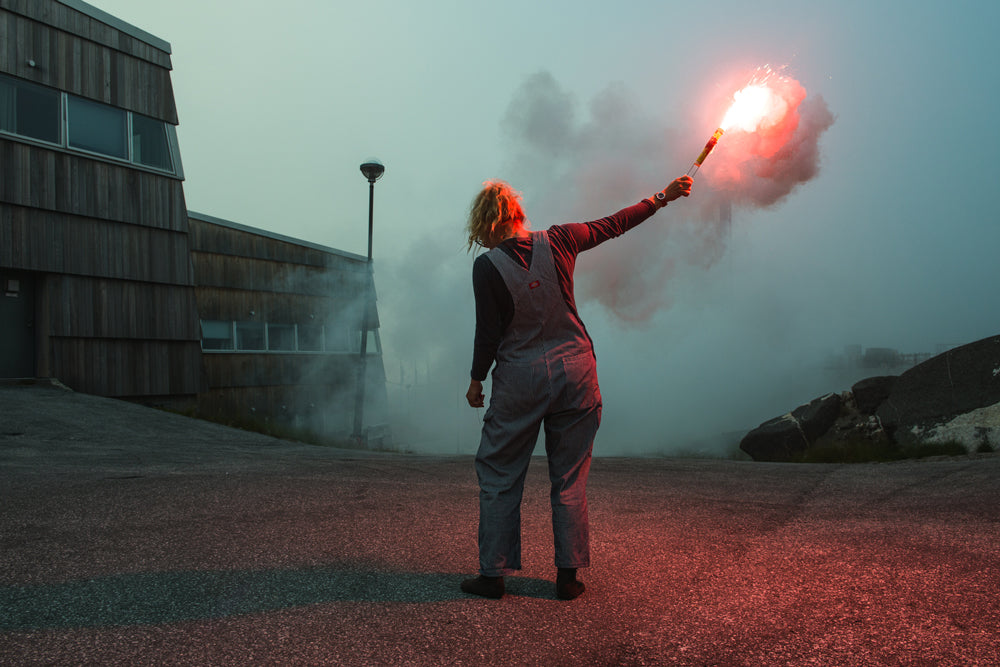 The CALVE Greenland expedition team tests their flares in Nuuk.