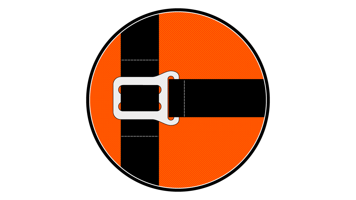 An illustration of a backpack chest strap.