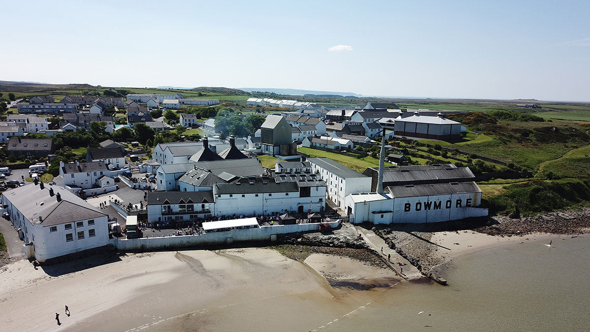 An aerial view of the isle of Islay during the Feis Ile scottish whisky festival