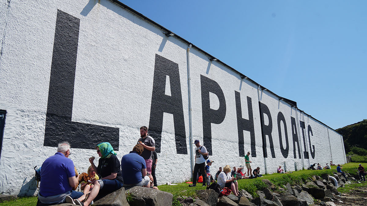 The wall of laphroic distillery during Feis Ile whisky festival