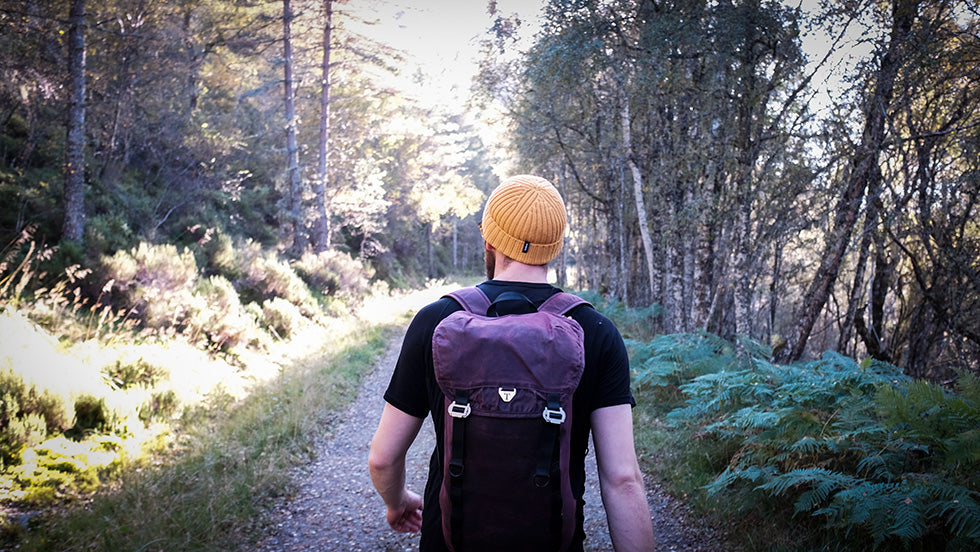 A man and his Trakke bag walk down a woodland path in the sun