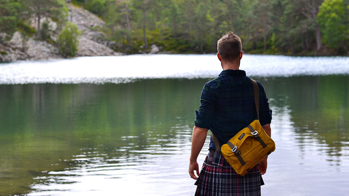 Finlay Wilson Kilted Yogi looking at a loch