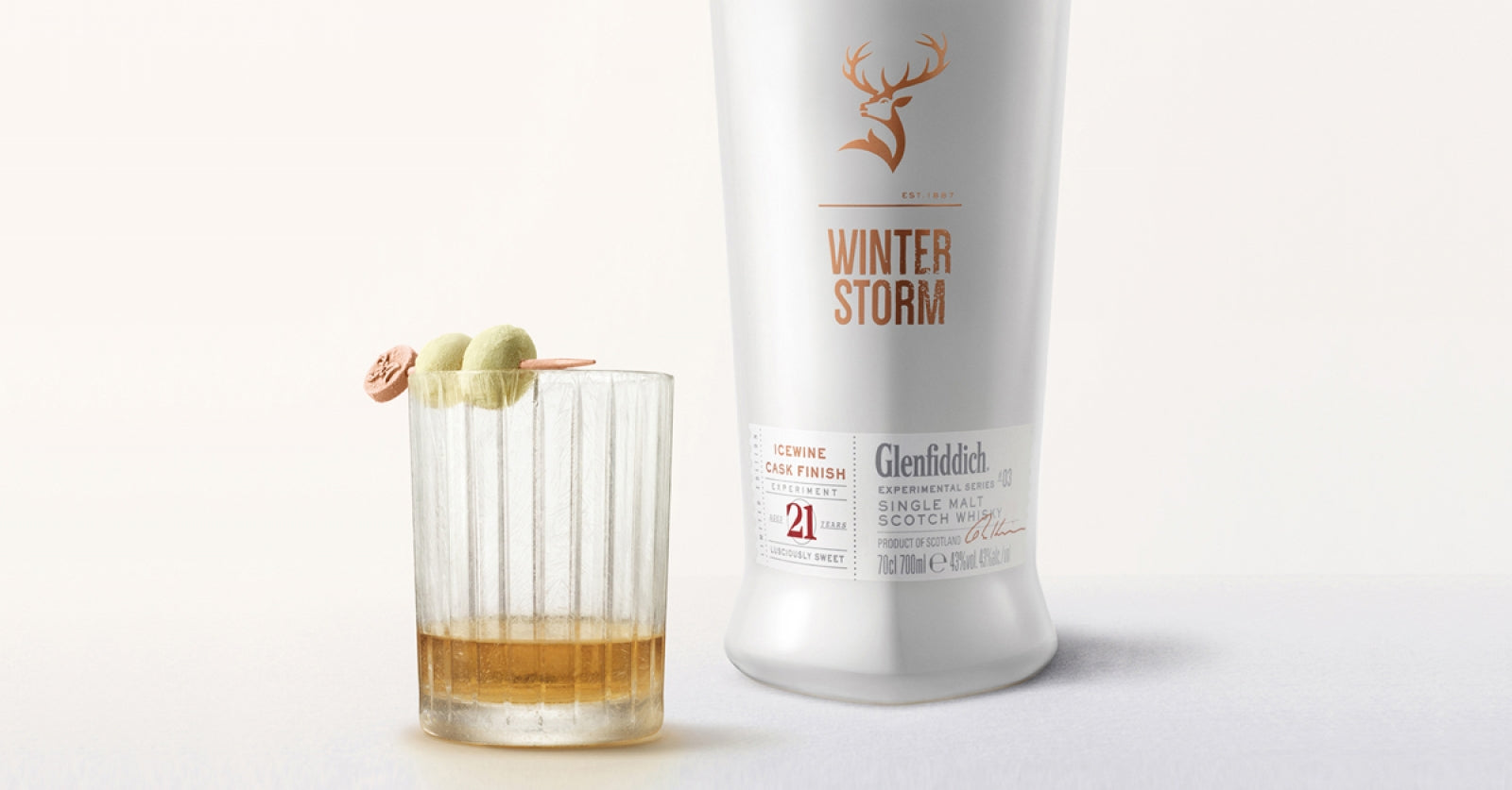 A bottle of Scotch Whisky from Glenfiddich known as Winter Storm