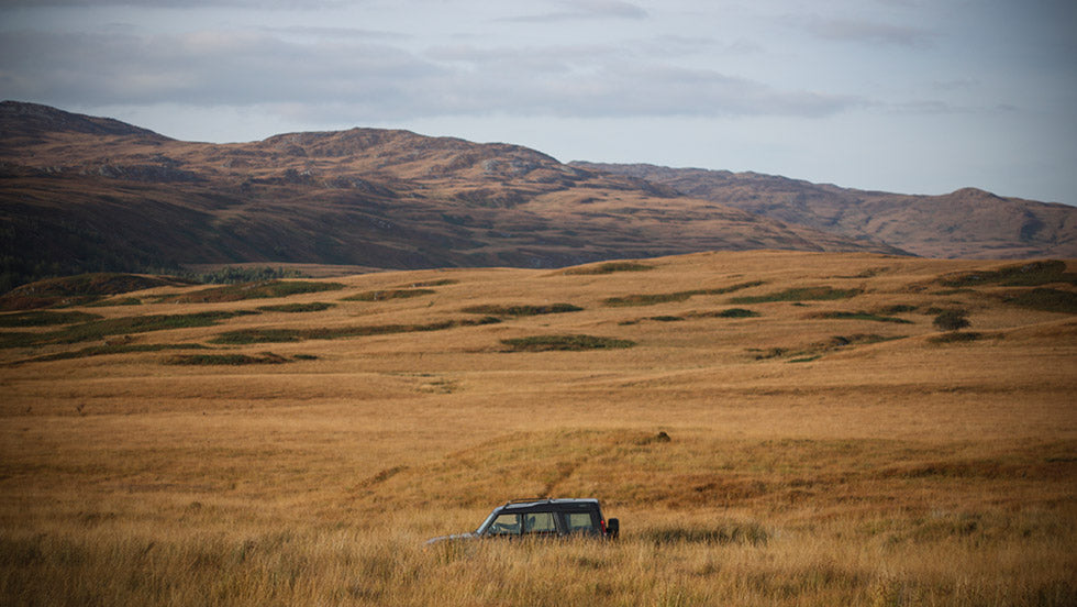 the land rover taking the single road through the isle of jura