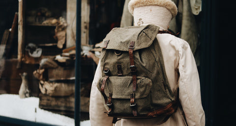swiss army backpack made with salt and pepper fabric