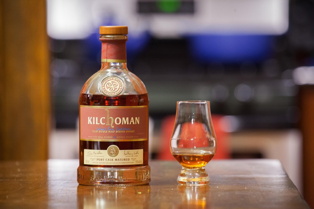 A Kilchoman Port Cask Whisky Bottle