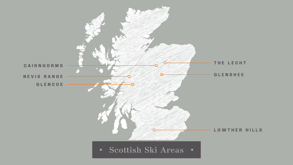 a map denoting the best Scottish ski resorts: Glencoe, Nevis Range, Cairngorms, Glenshee, The Lecht, Lowther Hills