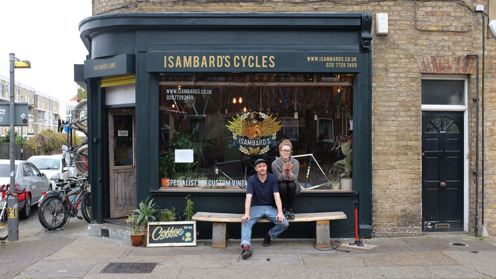 The shop front of Isambard's Cycles in London, Brick Street.