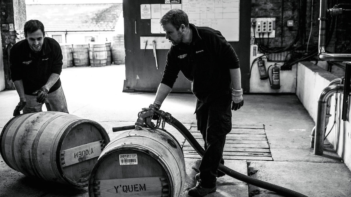 Adam Hannett working with Whisky casks on the island of Islay