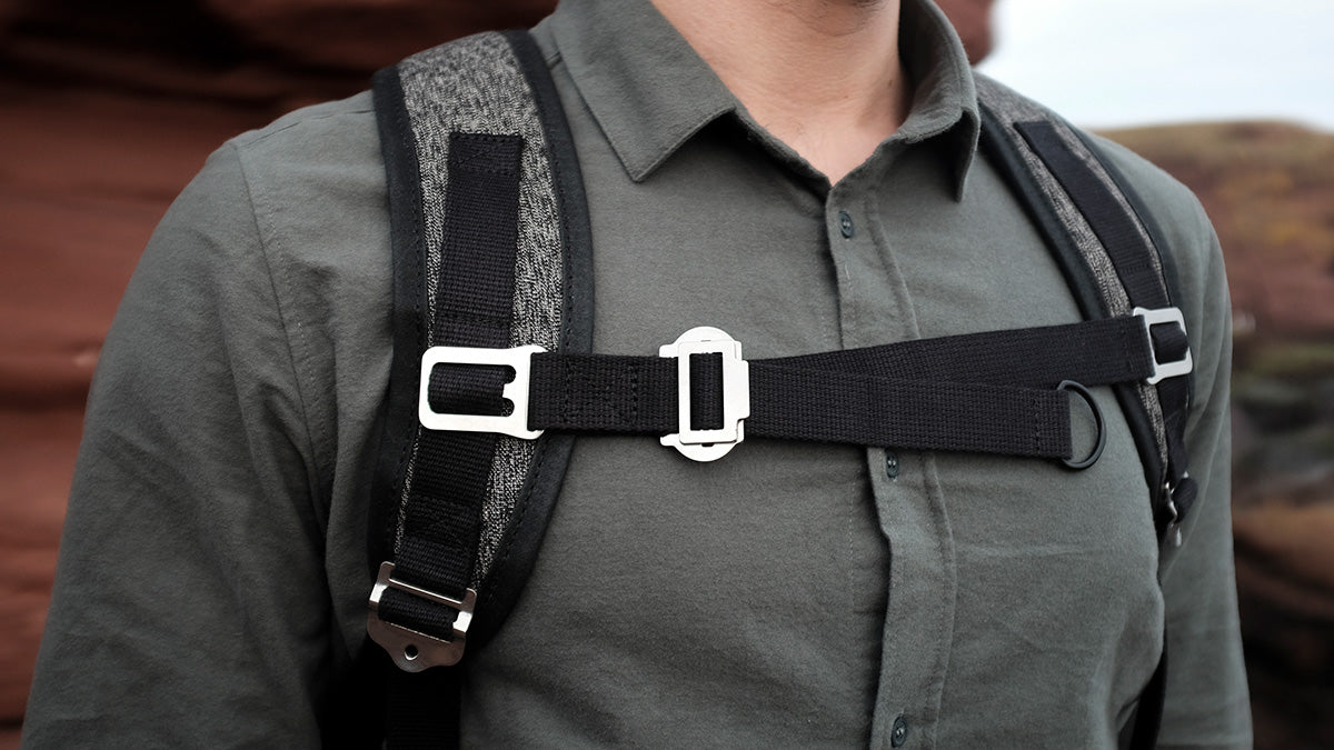 a bannoch backpack with a chest strap attached.