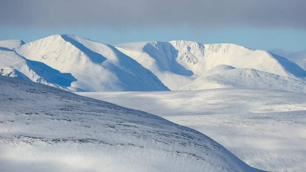 the cairngorm range covered in snow