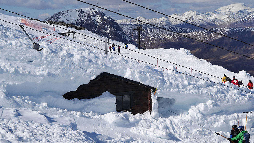 A hut covered in snow at Glen Coe Ski resort
