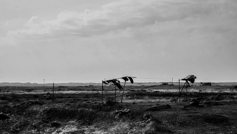 South Uist remote football pitch in black and white by Brian Sweeney