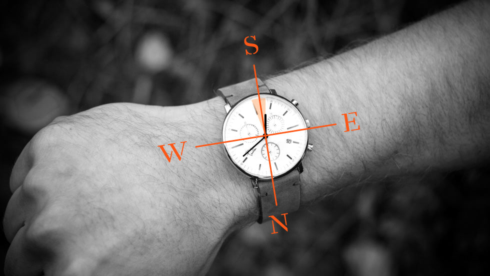 A diagram that shows how to use a watch as a compass