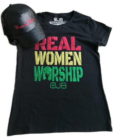 REAL WOMEN WORSHIP Rasta Glitter T Shirt - OJBClothingstore