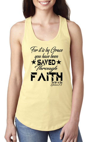 Saved by Grace Through Faith Tank Top - OJBClothingstore