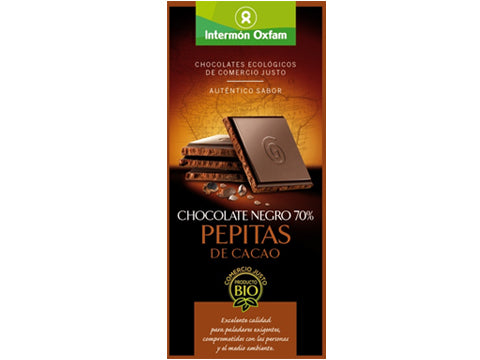 Tableta chocolate Negro 70% Pepitas Cacao bio