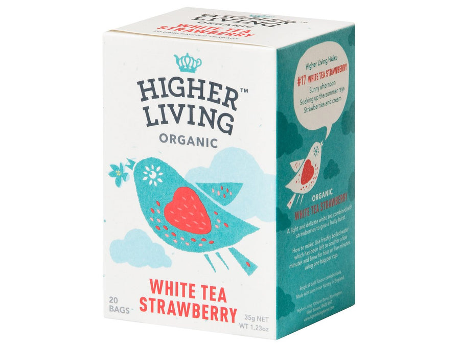 Té blanco con fresa Bio Higher Living 20 bolsas