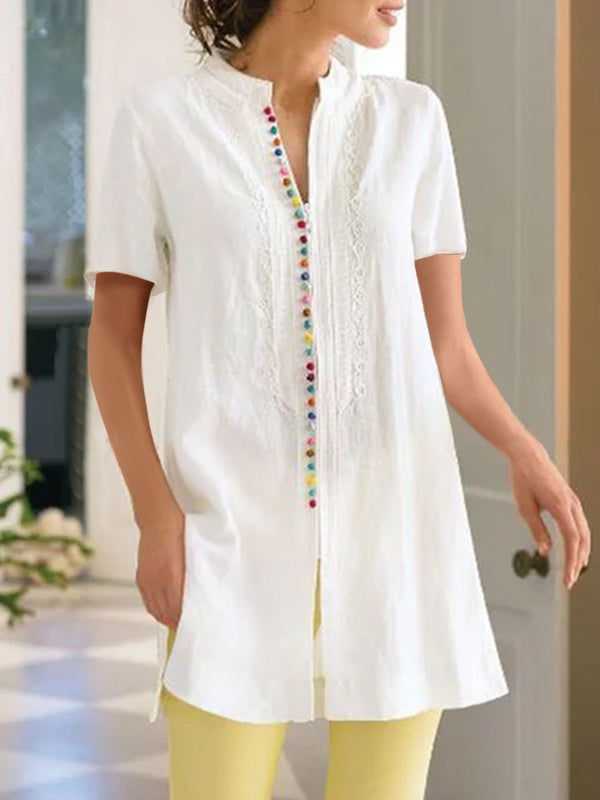 Women V-neck Short-sleeved Solid  Loose Casual Shirt Dress