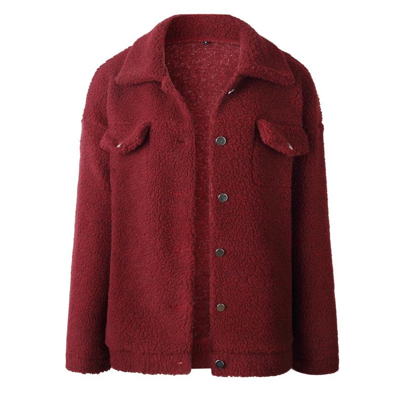 Women Lapel Button Collar Pocket Coat