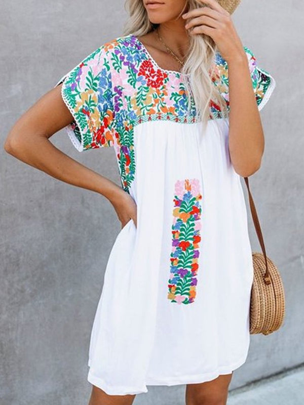 Mostata Vintage Short Sleeve V Neck Women Mexican Dresses