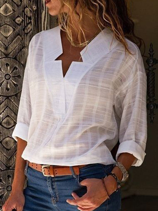 Cotton Blend Long Sleeve Plus Size V Neck Blouse