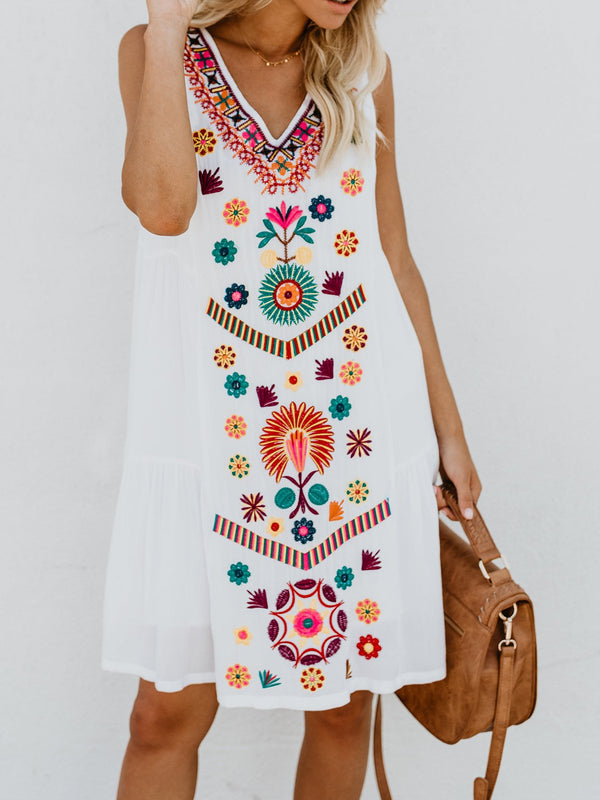 V neck White Shift Women Daily Sleeveless Casual Printed Floral Summer Dress