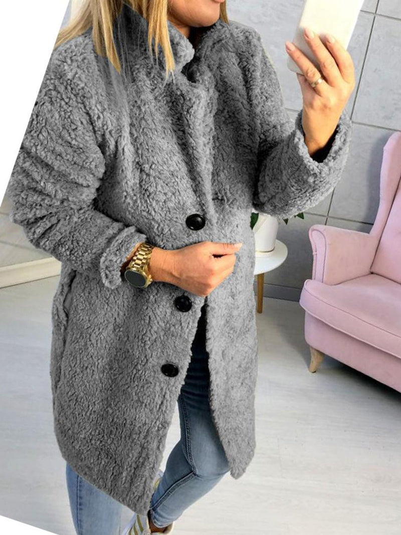 Long Sleeve Solid Shawl Collar Casual Teddy Bear Coats